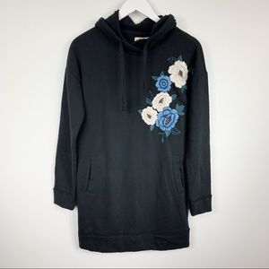 Hollister Black Floral Embroidered Hoodie Dress